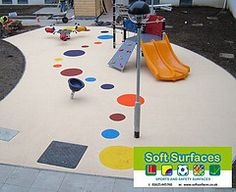 Playground Impact Absorbing Safety Surfacing Play Area Surfaces - Spongy outdoor flooring