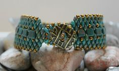 Czechmate Tile and Superduo Cuff Bracelet Bead by ReggiesCreations