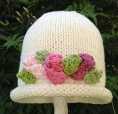 So So Sweet Hand Knit Baby Girl Hat White by HollyLaneBabyHats, $38.00