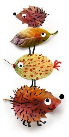 egeltje of vogel van herfstbladeren