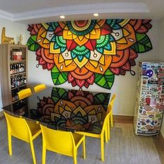Awesome colorful mandala wall mural!