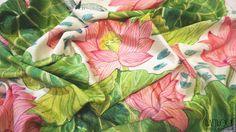 """Купить Батик платок """"Розовый лотос"""" - розовый, цветочный, салатовый, зеленый, лотос, бабочки, стрекозы"""