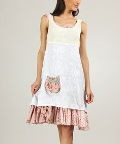 Loving this White & Old Pink Tiered Ruffle Scoop Neck Dress on #zulily! #zulilyfinds
