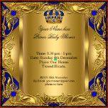 Prince Royal Blue Baby Shower Boy Regal Gold 3 Custom Announcements | Zazzle