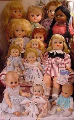 An older photo of a few of my vintage vinyl dolls. I've since sold quite a few of these. Vintage Paper Dolls, Vintage Barbie, Vintage Toys, Old Dolls, Antique Dolls, Doll Toys, Baby Dolls, Doll Display, Vinyl Dolls