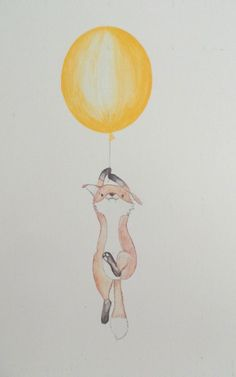 cute drawing of a floatting fox. available in A5, A4, blue of yellow balloon https://www.etsy.com/uk/listing/166378548/floating-fox-nursery-art-print-drawing?ref=shop_home_active