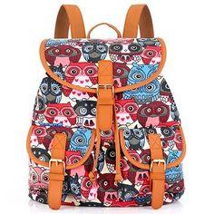 d1c58aaabb Sansarya Red Owl Print Canvas Teen Backpack Boho Shcool Bags Bagpack Women  Rucksack For Girls Female Drawstring Bag Rugzak