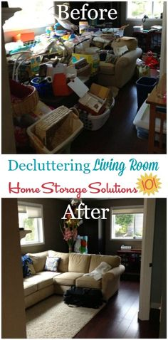 Before and after of major living room declutter sessions {featured on Home Storage Solutions 101}