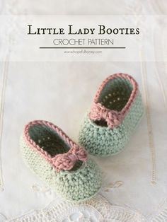 Little Lady Baby Booties - Free Crochet Pattern ☂ᙓᖇᗴᔕᗩ ᖇᙓᔕ☂ᙓᘐᘎᓮ http://www.pinterest.com/teretegui
