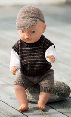 Strikkeopskrift, strikket dukketøj til dukkedrengen