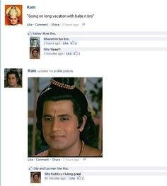 If Facebook existed in the times of Ramayana - Rama, Sita and Hanuman comments on Facebook by Jyoti Zaveri, via Flickr