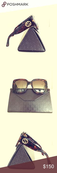 Glam Gucci Oversized Tortoiseshell Sunglasses Genuine Gucci Oversized Tortoiseshell sunnies with gold Gucci logo on both sides! Lightly used, but in brand new condition! Leather lined carrying case is included. Gucci Accessories Glasses
