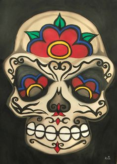 Original Acrylic Sugar Skull Print  Cream Candy by ArniesArtwork, £30.00