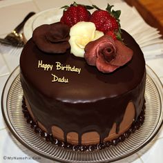 Write Your Name On Chocolate Birthday Cake With Roses Picture In Seconds Make Awesome New Happy Greetings Cakes