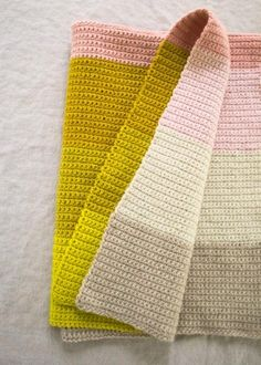 Super-easy crocheted baby blanket from Purlbee - would be easy to reinterpret as a knit
