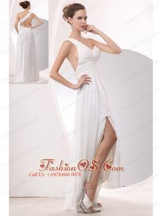 Beautiful White Empire One Shoulder Prom / Evening Dress High-low Chiffon Appliques  http://www.fashionos.com  zipper up back prom dress | floor length prom dress | cheap prom dress under 150 | summer collection | online dress store on sale | 2013 popular prom dress for graduation | high end low price | perfect evening dress | online store sell prom dress | social activities club |