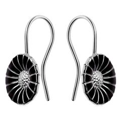 Daisy' Earhooks with Black Enamel by Georg Jensen | Guest and Philips