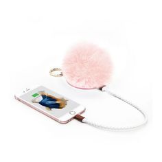 I need this! POMPOM Furball Portable Charger, Bag Charm & Mirror on AHA