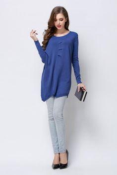 10f6509ff5 2019 Original Designer Women Blue Gradient Asymmetric Sweater Shirt Casual  Lady Long Bat Shirts Simple Elegant High Quality Leisure Wear From ...