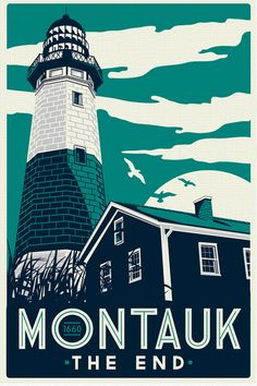 Montauk Light House Retro Vintage beach Screen Print poster cool colors new york - Etsy