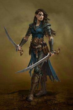 Elf fighter dual wield fantasy warrior, elf warrior, fantasy rpg, fantasy w Fantasy Warrior, Elf Warrior, Fantasy Rpg, Fantasy Women, Medieval Fantasy, Fantasy Girl, Fantasy Artwork, High Fantasy, Dragon Warrior