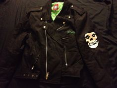 Misfits Canvas Faux Leather Bomber Jacket Danzig Samhain Limited Band Release #officialmisfitslicensedthroughRedballsLondon #Motorcycle