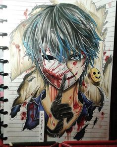 """""""Don't be excited about tomorow because there will be no tomorrow """" -Helen otis a.a Bloody painter Bloody Painter Creepypasta Quotes, Creepypasta Girls, Creepypasta Proxy, Jeff The Killer, Creepypastas Ticci Toby, Creepy Pasta Comics, Arte Ninja, Eyeless Jack, Arte Horror"""