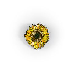 "Rep the Sunflower pin! • .75"" • Black Metal • Green Rubber Clutch"
