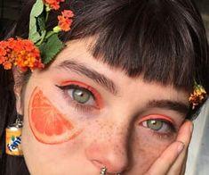 grafika aesthetic, alternative, and nature Face Aesthetic, Orange Aesthetic, Aesthetic Makeup, Aesthetic Girl, Cute Makeup, Makeup Looks, Girl With Green Eyes, Orange Makeup, Artsy Photos