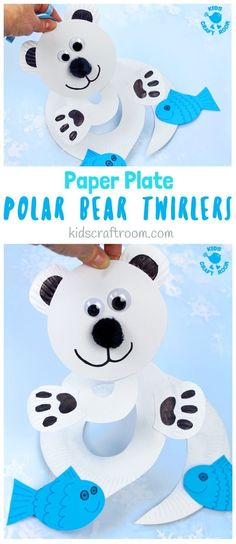 How fun is this Paper Plate Polar Bear Twirler? Hold it high and give it a blow to watch it go, go go! This is a lovely interactive Winter craft for kids thats really easy to make with paper plates. Paper plate twirlers are so fun! Winter Activities For Kids, Winter Crafts For Kids, Winter Kids, Crafts For Kids To Make, Kids Crafts, Winter Preschool Crafts, Preschool Kindergarten, Kids Diy, Clay Crafts