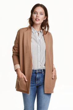 Fine-knit cardigan: Straight-style cardigan in a sturdy, fine knit with no…