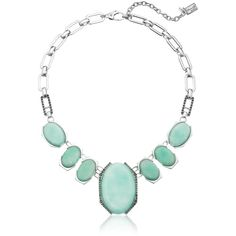 Kenneth Cole New York Aqua Glow Silver-Tone Necklace ($60) ❤ liked on Polyvore featuring jewelry, necklaces, bib jewelry, bead chain necklace, beaded bib necklace, silvertone necklace and aqua bib necklace