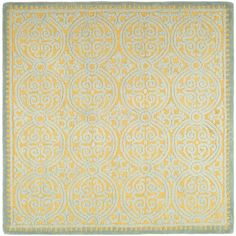 Safavieh Cambridge Collection CAM234A Handmade Blue and Gold Wool Square Area Rug, 8 feet by 8 feet Square (8' x 8' Square)