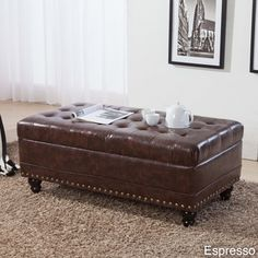 Castillian Collection Classic Tufted Nailhead Trim Storage Bench Ottoman | Overstock.com Shopping - The Best Deals on Ottomans
