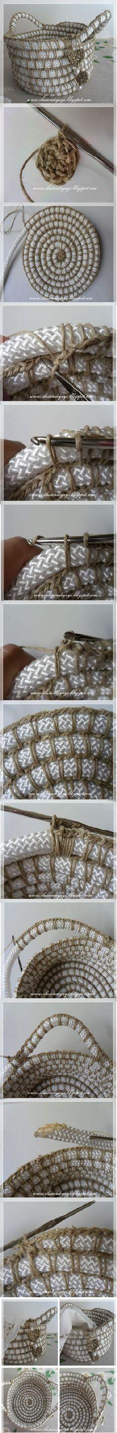 Cesta con cuerdas y crochet