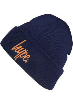 Hype. Script, Beanie, navy-orange #Beanie #AccessoriesMale #titus #titusskateshop