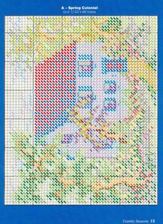 Country Seasons Pg 13 More spring Cross Stitch House, Cross Stitch Charts, Cross Stitch Patterns, Plastic Canvas Crafts, Plastic Canvas Patterns, Canvas Door Hanger, Sewing Crafts, Sewing Projects, Cross Stitch Landscape