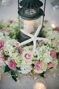 Pink seaside wedding table decor