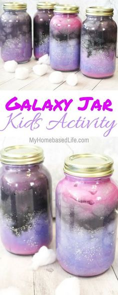 These Galaxy Jars are so simple and fun for the kids to create. Let your child\'s creativity go wild on these and their masterpiece will be amazing! #galaxy #homeschoolunit #kidsactivity #space #nebulajar | Homeschool Activity | Galaxy Activity | STEM Activity | Galaxy Jar | Nebula Jar | Science Projects | Easy Kids Activities | Simple Kids Activities | via Marissa | My Home Based Life