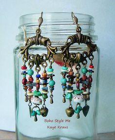 Rustic Boho Tribal Gypsy Earrings Bohemian Jewelry by BohoStyleMe