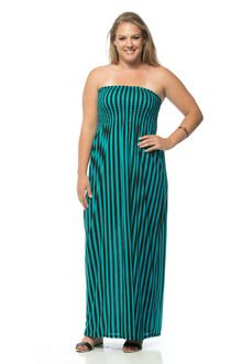 Black and Turquoise Vertical Striped Banded Long Plus Size Maxi Dress