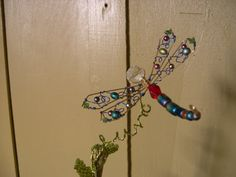 Tie Dyed Dragonfly Plant Poke by whimsicalwire on Etsy, $30.00