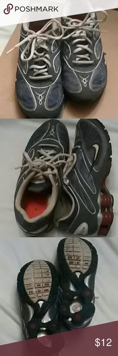 Nike Shox Sneakers Nike Shox sneakers. Used, but still good life left in them. Grey, Maroon & white. Nike Shoes Sneakers