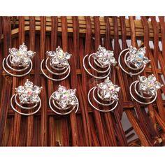 New 40pcs Rhinestones Flower Hair Twists Spins Pin Wedding Clips Hairpins | eBay