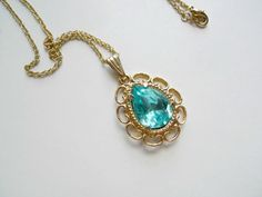 Blue green glass pendant and gold tone chain by june22 on Etsy