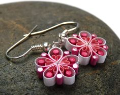 Small Earrings - Eco-friendly, Paper, Summer flowers, quilled £8.99