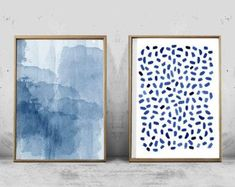 Blue Painting Abstract Watercolor Print Dashes Brushstrokes #watercolorarts