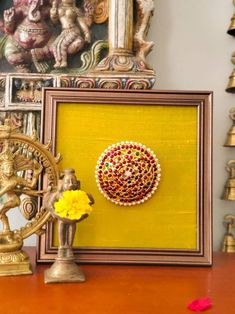 Frame Wall Decor, Home Decor Wall Art, Home Decor Items, Frames On Wall, Indian Room Decor, Ethnic Home Decor, Indian Inspired Decor, Ganpati Decoration At Home, Diy Diwali Decorations