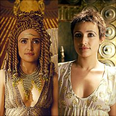 Lindsey Marshall as Cleopatra. The costumes in HBO's Rome were excellent. I loved Cleopatra's coiled wig in season Rome Costume, Costumes, Rome Hbo, Rome Tv Series, Roman History, The Daily Show, Drama Film, Hollywood Fashion, Ancient Rome