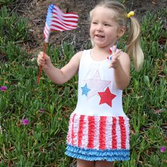 4th of July ruffle t-shirt dress toddlers girls pdf sewing pattern from Mack & Lily